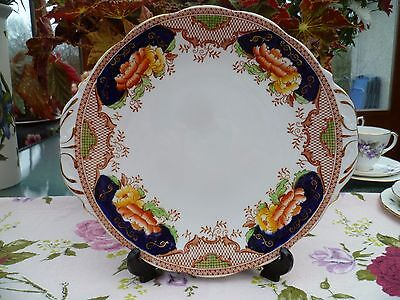 Vintage Queen Anne English China Cake or Sandwich Plate Cobalt Blue Floral 5415