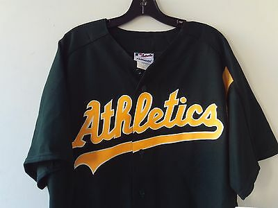 NWT Authentic Collection Majestic Athletic~Oakland Athletics Green Button Front