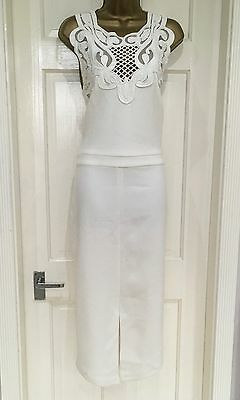 ASOS Brand New Ivory Embroidery Lace Pencil Party Evening Dress Tall Size 12