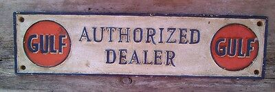 "Gulf Motor Oil ""AUTHORIZED DEALER"" Sign Cast Iron Advertising Sign Gas Oil"