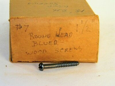 "New Old Stock Box Of Vintage # 7 1 1/2"" Round Head Blued Wood Screws T2917C"