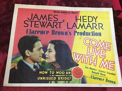 Come Live With Me Lobby Card Hedy Lamarr, James Stewart