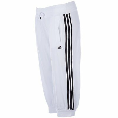 genuine Womens adidas Womens Essentials 3S 3/4 Quarter Pants in White Black - XS