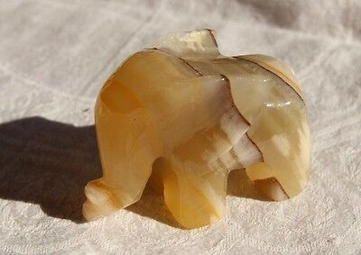 Vintage Onyx Elephant Statue/Figurine Small Hand-Carved ~2 inch High made Mexico