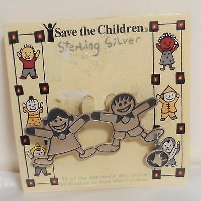 Save the Children 925 STERLING SILVER Brooch Lapel Pin Boy & Girl Playing