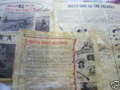 """set of 3 pirate posters on parchment paper 14"""" Pirates Creed of Ethics, weapons,"""