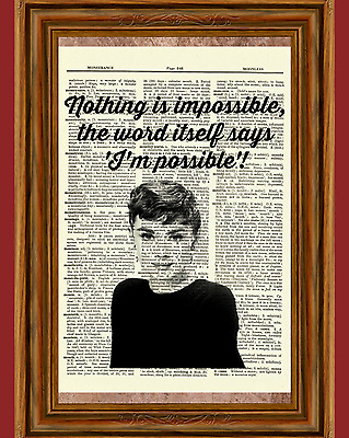 Audrey Hepburn Picture Dictionary Art Print Book Page Impossible Quote