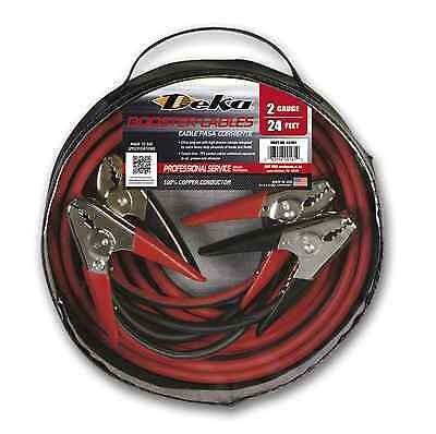 (1) Deka 00161 - 2 Gauge x 24' Professional Booster Cable, Copper, Made in USA