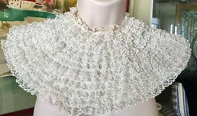 Antique Vintage Fine Ruffle Lace Collar 12 Rows Of Lace