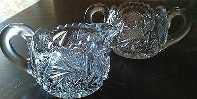Antique American Brilliant Period Deep Cut Crystal Creamer & Sugar Bowl