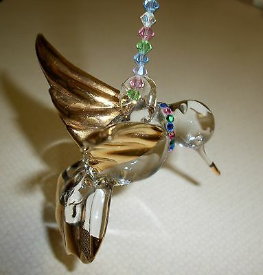 Crystal and Gold Hanging Hummingbird--with Colored Faceted Crystals