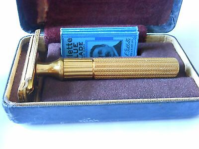 Gillette Gold Tech De Safety Razor With Case And Blades