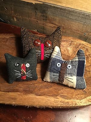 Primitive   Old Home Cats Bowl Fillers Set of 3