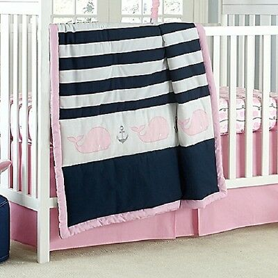 Nautica Kids Mix & Match Striped Whale Comforter only  in Navy/Pink - Nautical