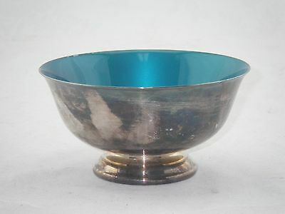 Reed & Barton PAUL REVERE #102 Teal Turquoise Enameled Footed Silver Bowl