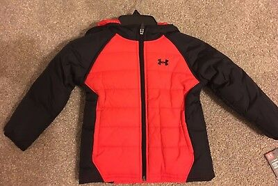 Under Armour Kid Boys Quilted Werewolf Jacket coat Winter Red or Blue /Black sz2