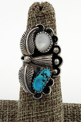 Navajo Sterling Silver Kingman Turquoise & MOP Squash Blossom Ring, Size 6