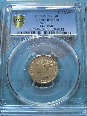 "Exremely Rare 1871 1/2 Sovereign ""Nose To T"" & Unrecorded Die #68 PCGS Cert VF30"