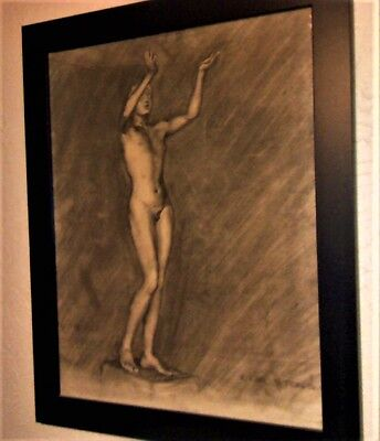 charcoal sketch  nude male art by Artist   Williard karl Steele Elkhart Indiana