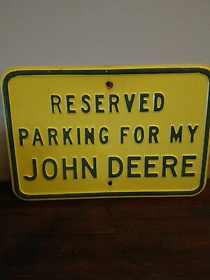 "John Deere Sign Advertising - Reserved Parking 18""x12"" Tractor Lawnmower"