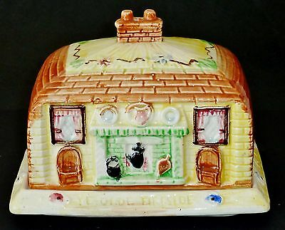 Hand painted PRICE BROS COTTAGE WARE:Ye Olde Fireside BUTTER DISH cheese VINTAGE