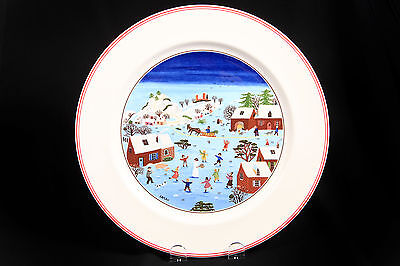 Villeroy & Boch Naif Christmas Round Dinner Plate by Laplau Red Border New