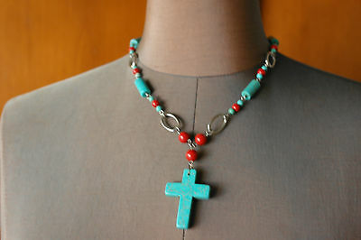 Vintage Coral Turquoise Stone Bead Choker Necklace Cross Pendant