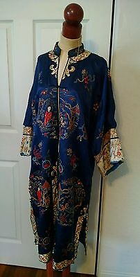 Antique Early 20thC Chinese Hand Embroidered Forbidden Stitch Silk Robe