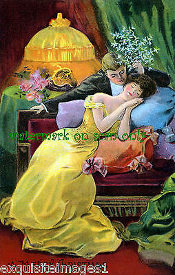 1906 Romantic French Christmas Image~Unusual~Colorful~MistletoeNEW Lg Note Cards
