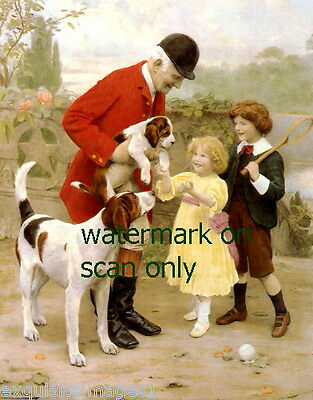 c1900~ Foxhounds or Walker Hound Dog w Puppy~Huntsman w Children~NEW Note Cards