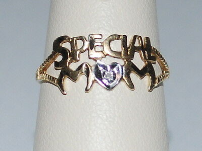 10K Gold Special Mom ring with a small diamond