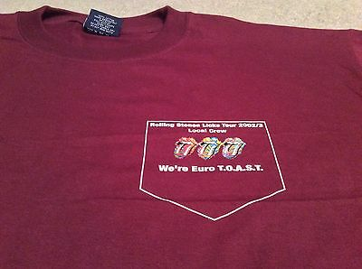 The Rolling Stones 2002 2003 European Concert Tour Local Crew Red T-Shirt XL