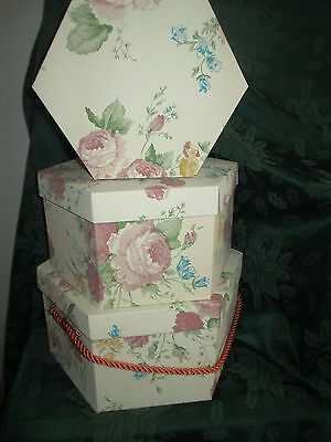 Vintage Floral Whitmor Whitney Hexagonal Hat Box Storage Containers Set of 3