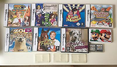 9 Nintendo Games with 5 game cases and stylus