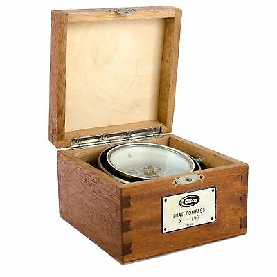 Vintage Olson Wood Box Boat Compass X-796