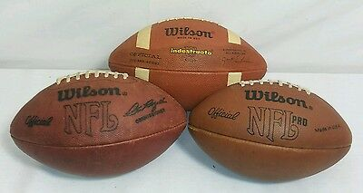 Lot of 3 Vtg WILSON NFL Pro Model Leather Footballs - Made In USA Official Size
