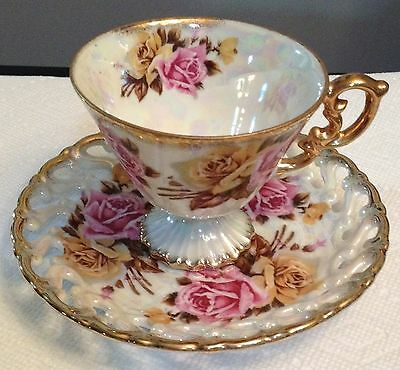 Antique Royal Shafford Cup & Saucer Pink & Yellow Roses Gold Trim