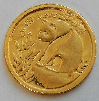 1993 China Gold Panda 1/20 Oz ~ 5 Yuan Coin ~ .999 Fine