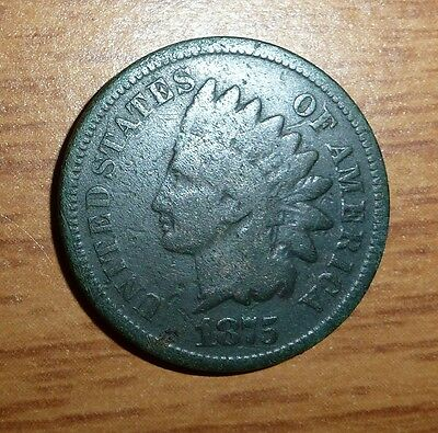 1875 Indian Head Cent: Dark Coin With Even Wear