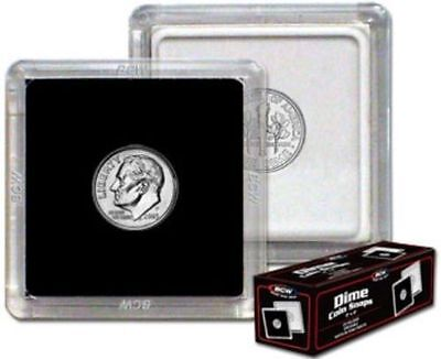 Box of 25 BCW 2x2 DIME Size Hard Plastic Coin Snap Hold