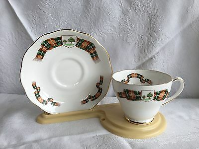 Roslyn China P.E.I. Canada Plaid # 162 Tea Cup & Saucer (248)