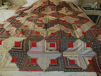"Vtg 1920's/40's Handmade Quilt Top Log Cabin 82""L x 69""W sold as found repair"