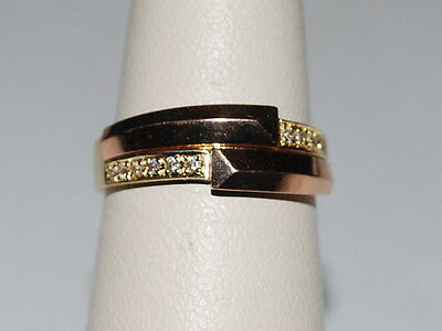 18K Yellow and Rose Gold ring with diamonds