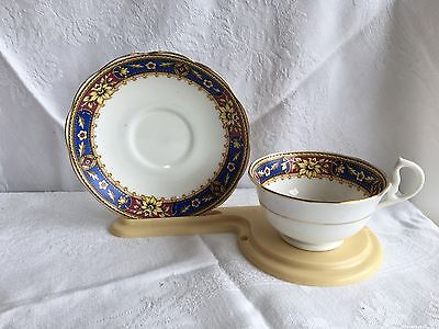 Royal Albert Crown China Y226 Red/Blue/Yellow/Gold Floral Tea Cup & Saucer (253)