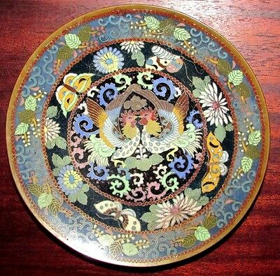 Antique Japanese/Chinese? Cloisonne Roosters/Cockerel Plate Scale Back