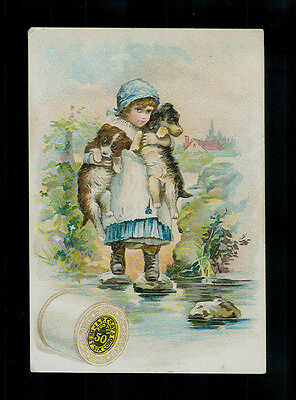 Girl Carries Her Dogs Across Pond-1880s Victorian Trade Card