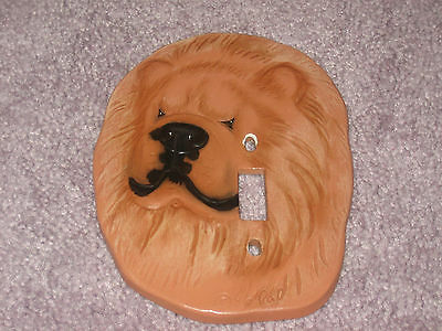 Chow Chow Red Face Ceramic Switch Plate Cover Artist Signed