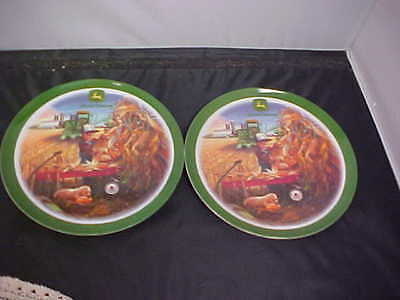 """John Deere Kid's Plates By Gibson Field Day Plastic 8"""" diameter Two Plates New"""