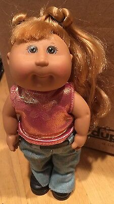 """Cabbage Patch Kid w/Boots Jeans Shimmering Pink Top Pony Tails 7"""" Soft Body"""