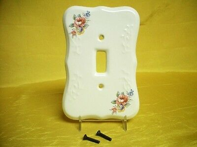 Vintage VB Athena Porcelain China Light Switch Plate Cover Flower Bouquet Mint